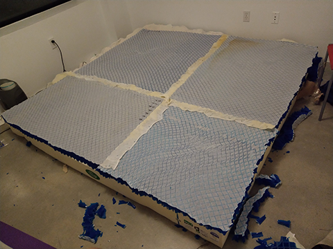 Photograph of buckling gel on latex core with all sheets cut to the proper size